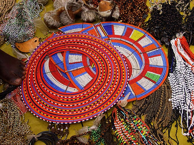 Colorful bead necklaces in the Nairobi market, Kenya 2000
