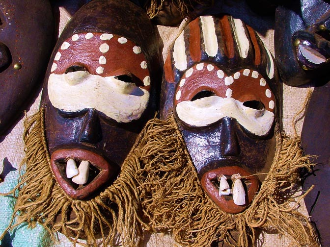 Colorful masks in the Nairobi market, Kenya 2000
