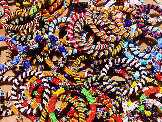Multicolor bid bracelets in the Nairobi market, Kenya 2000