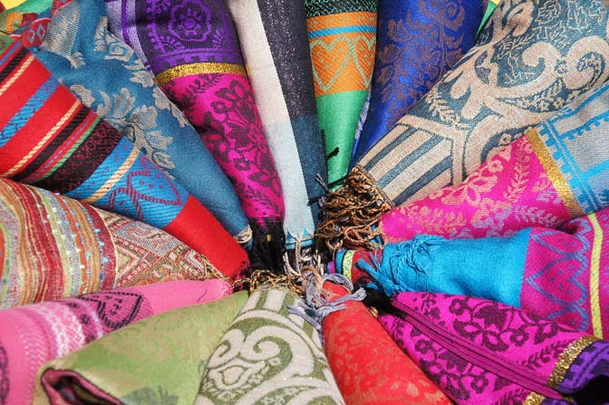 Colorful scarves in Addis Ababa market, Ethiopia 2012