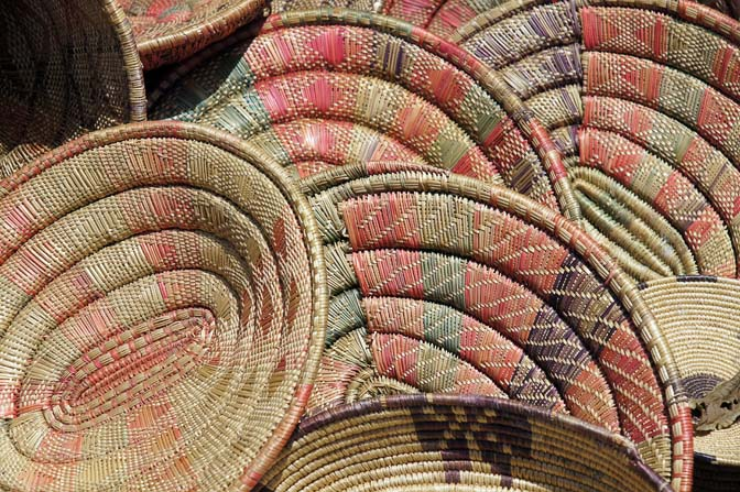 Woven bowls in Addis Ababa market, Ethiopia 2012