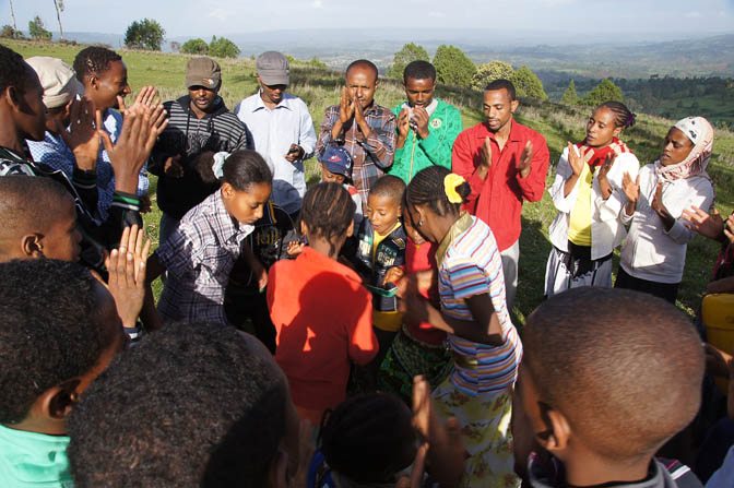 Young people singing and dancing in the Meskel celebration on top of Mount Tabor, 2012