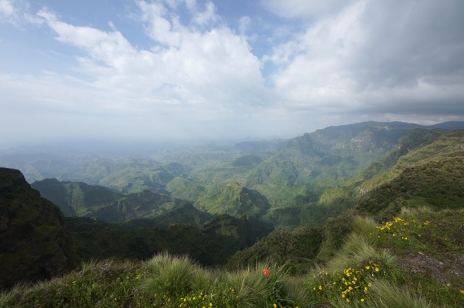A view from the path along the cliffs edge, Simien Mountains National Park 2012