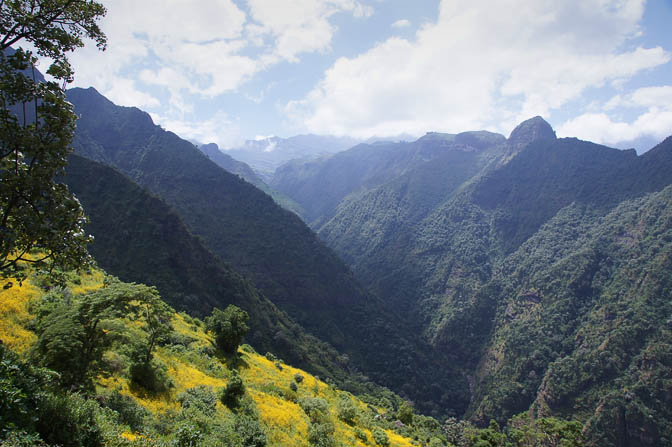 Toinsiya River undermines  the lushed green mountains, Simien Mountains National Park 2012