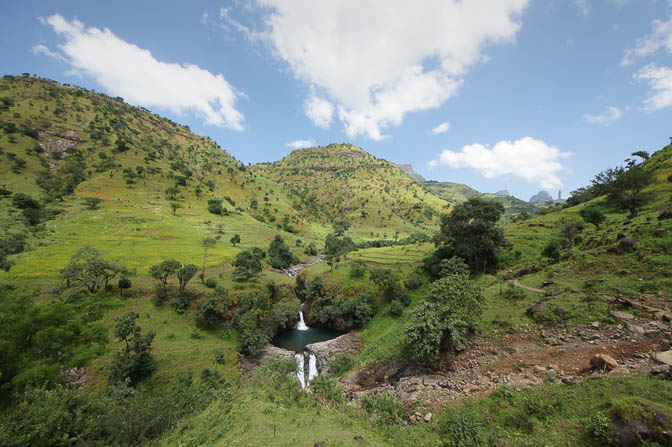 Waterfalls and ponds in one of the river's tributaries, Simien Mountains National Park 2012