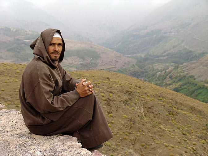 A Berber wearing a brown Jalaba, Tacheddirt village 2007