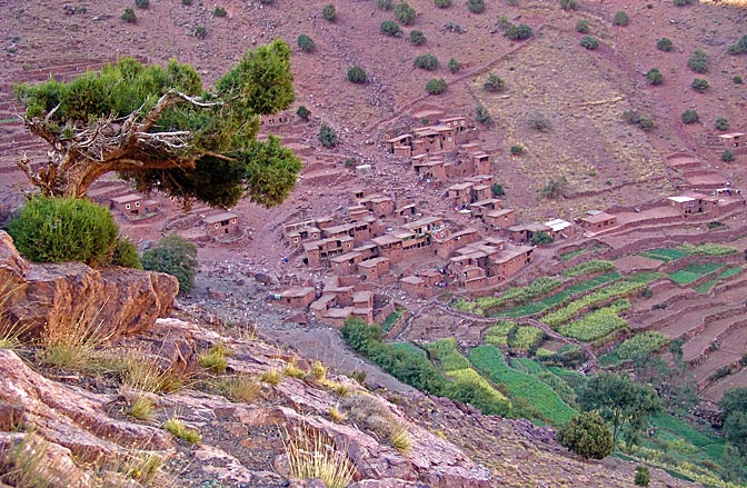 Red clay houses and green terraces, Iabassene village 2007