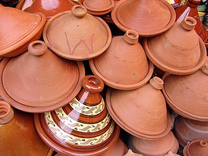 A display of the traditional Tagine pots, used for slow cooking, in the Souk (market), The Medina (old city) 2007