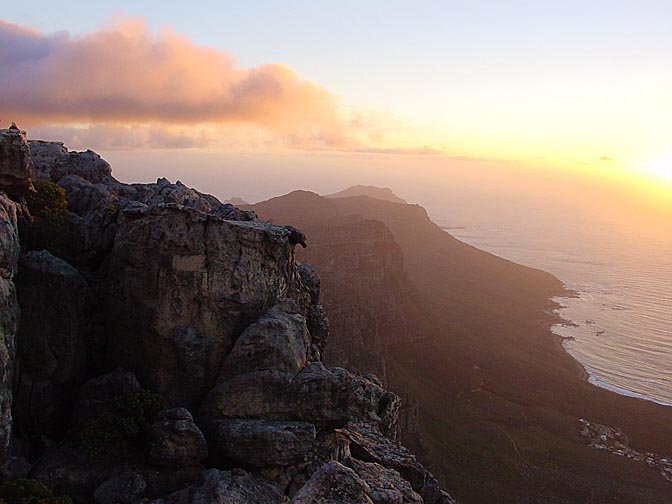 The sunset view from Table Mountain, Cape Town 2000
