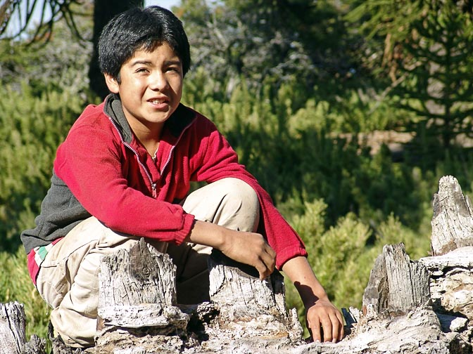 A Catalan (Mapuche) Indian boy in Lonco Luan, the Neuquen province 2004
