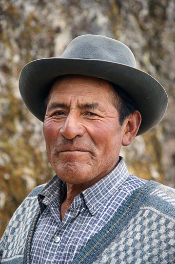 A local nomad man with a hat, Hatun Machay, Cordillera Negra 2008