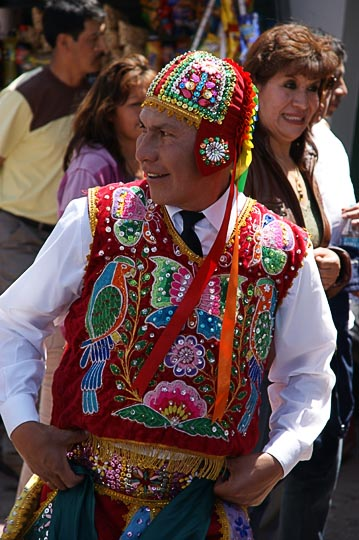 A dancer in the festival for Santa Rosa de Lima, Patron of the Police, Cusco 2008