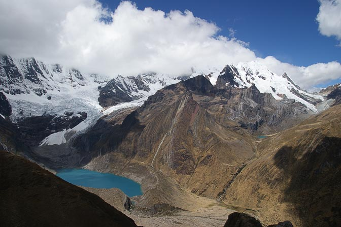 Mount Jirishanca and Glacier TAM behind the turquoise water of Lake Solteracocha, Mina Punta Viewpoint 2008