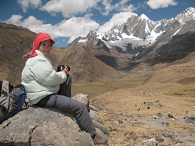 Myself admiring the views of Glacier Jirishanca Norte and Lagoon Mitococha, 2008 (photographed by Aviv Halman)