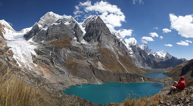 Lake Quesillococha, Lagoon Siula and Lagoon Gangrajanca, with The Great Yerupaja and Siula Mountains, Siula Punta 2008