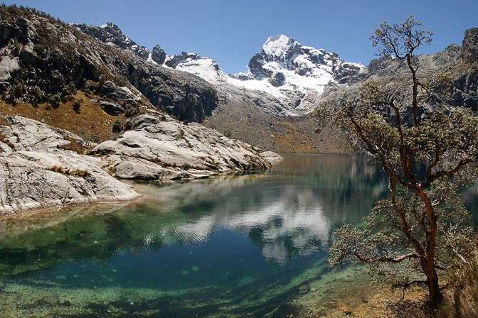 The reflection of Churup Mountain in Churup Lake, Cordillera Blanca 2008