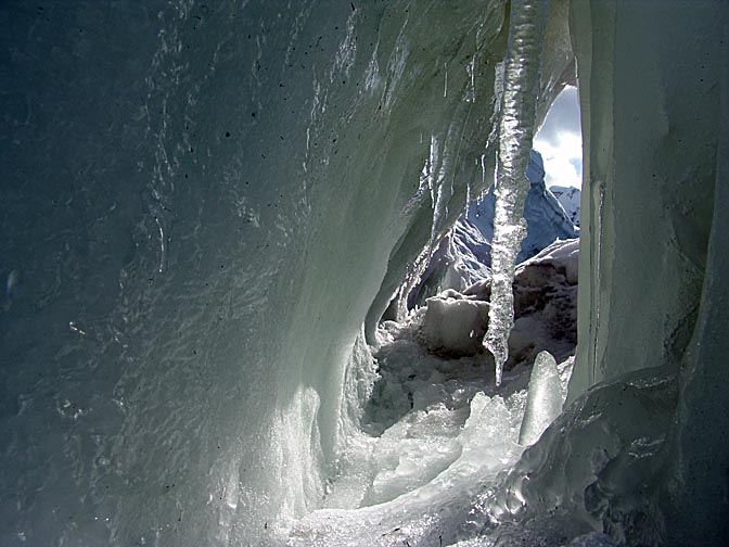 An icicle inside an ice cave in Paradise Bay, 2004