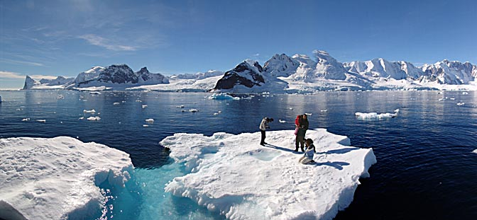 Our group members on pack ice in Beascochea Bay, 2004