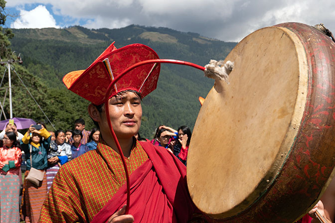 Drum player at Thangbi Mani Cheopa/Festival in Chhoekhor Gewog, Bumthang 2018