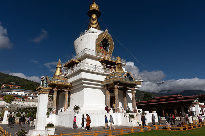 Pilgrims circling The National Memorial Choten, Tibetan style stupa, Thimphu 2018
