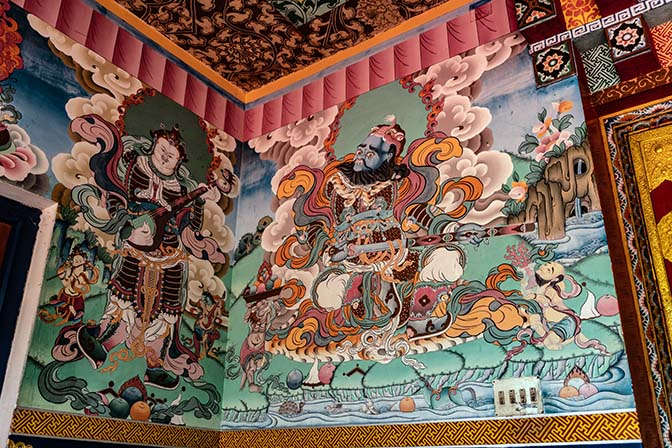 Tow of The Four Guardian Kings painted at the entrance hall to Rangjung Woesel Chholing Monastery, Radi valley, Trashigang 2018