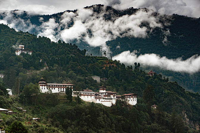 Trongsa Dzong between mountains and clouds, 2018