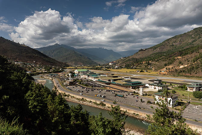 Bird's Eye View of Paro Airport, cradled in the Himalayas, 2018