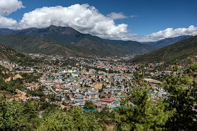 View of Thimphu, cradled in the Himalayas, from Buddha Dordenma, 2018
