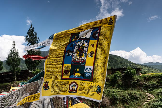 A payer flag fluttering at the Punakha Suspension Bridge, 2018