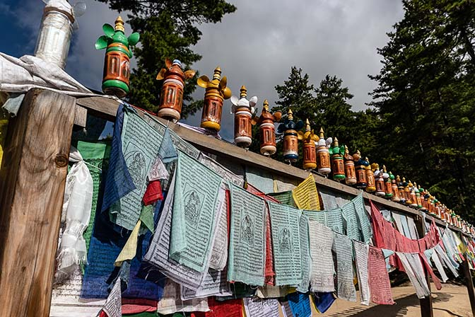 Prayer flags alongside the way to Tiger's Nest Monastery, Taktsang Goemba, 2018