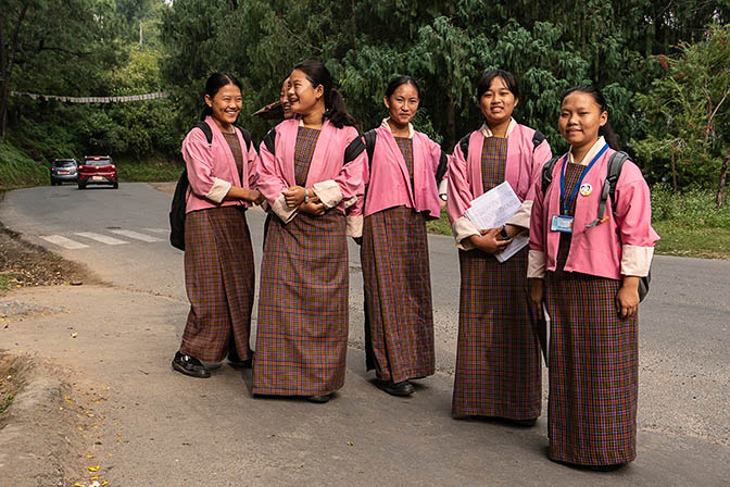 Girls in school uniform on their way to school, Punakha 2018