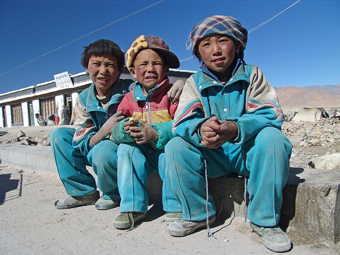 Tibetans kids in school uniform in Old Tingri, 2004