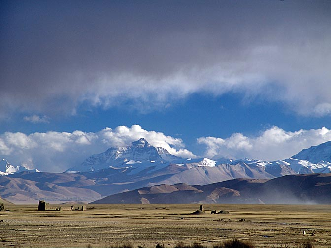 A landscape with the Everest Mountain from Old Tingri, 2004