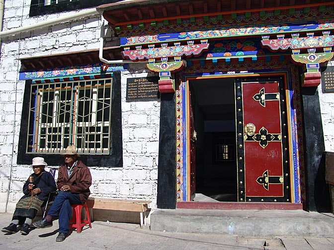A typical entrance close to the Jokhang, Lhasa 2004