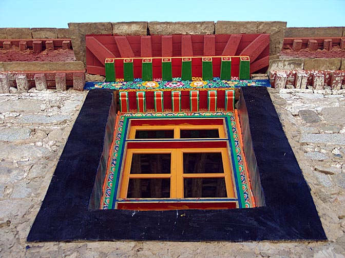 A typical black-framed trapezoidal window in Samyai Monastery, 2004