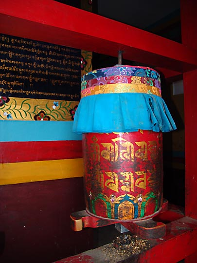 A colorful prayer wheel in Samyai Monastery, 2004