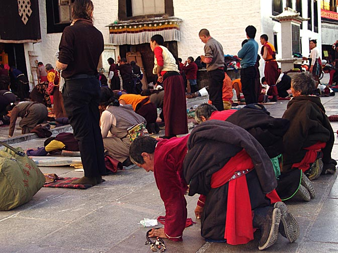 Pilgrims prostrating in front of the Jokhang, Lhasa 2004