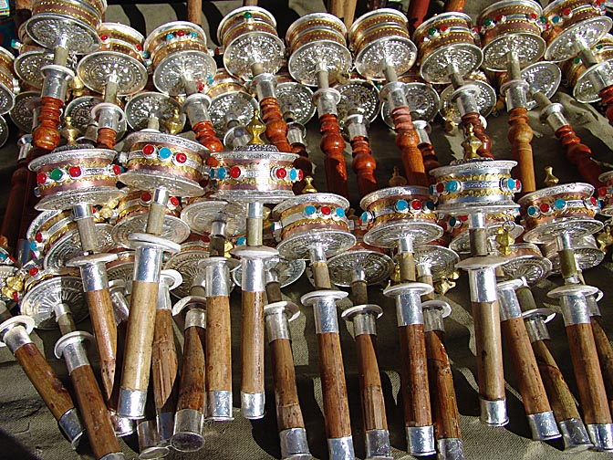 Prayer wheels in the Barkhor Market, Lhasa 2004