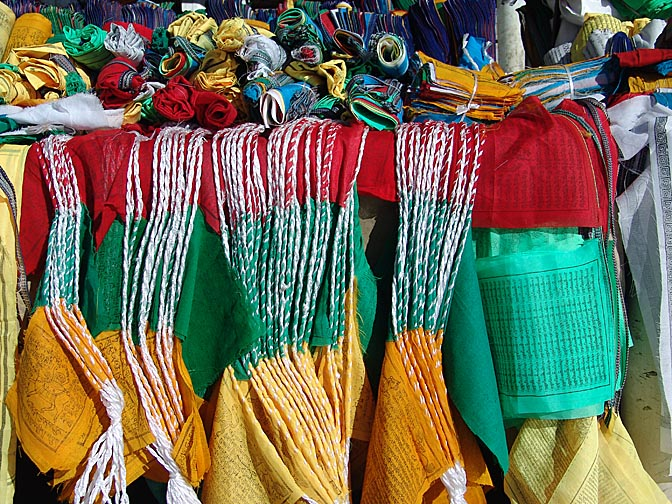 Multicolor prayer flags in the Barkhor Market, Lhasa 2004