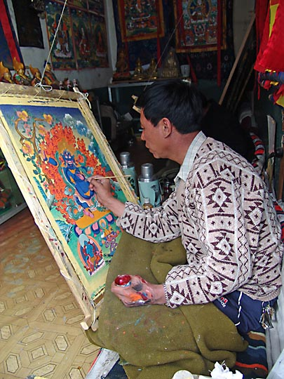 A Tangka Painting artist around the Jokhang, Lhasa 2004