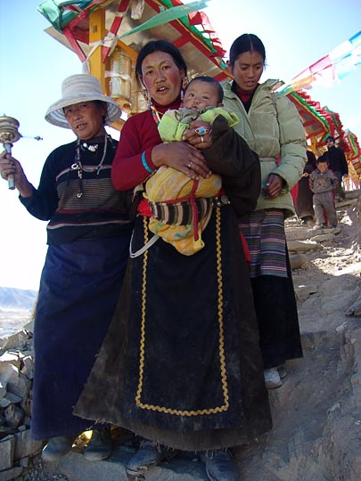 Tibetans along by the Lingkor in Shigatse, 2004