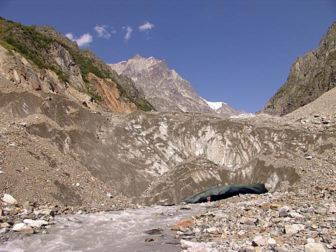 The river emerging from Chalati Glacier, Upper Svaneti 2007