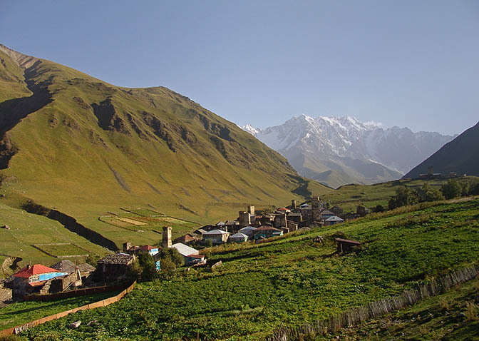 Ushguli village Zhibiani with Mount Shkhara in the background, Upper Svaneti 2007