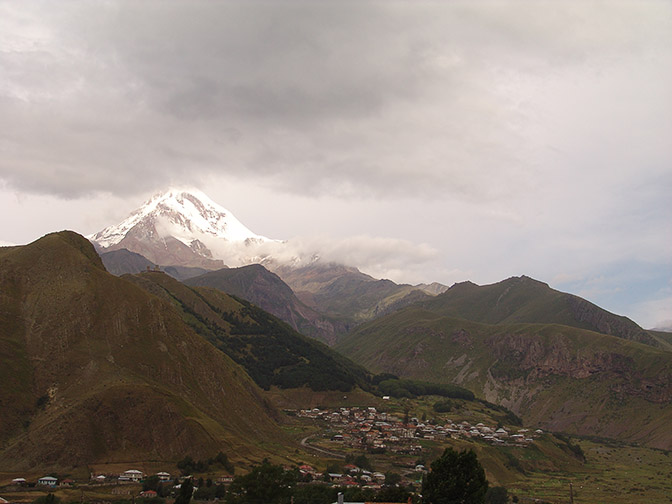 Stepantsminda (Kazbegi) town nestled in the Caucasus Mountains, 2007