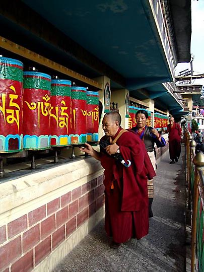 Tibetans rolling the prayer wheels at Temple road, McLeod Ganj, 2004