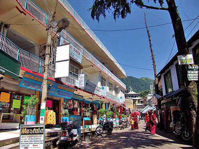 The colorful Temple road in McLeod Ganj, 2004