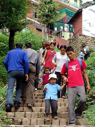 Going down the stairs to Yongling school in McLeod Ganj, 2004