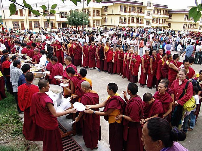 A free lunch at the Karmapa birthday celebration, at Gyuto Monastery, Sidmbari, 2004