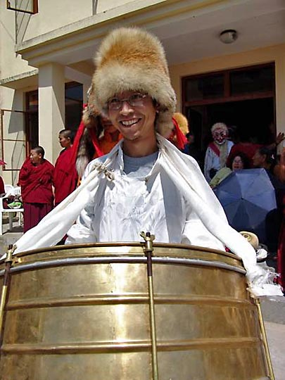 A drummer, at the Karmapa birthday celebration, at Gyuto Monastery, Sidmbari, 2004