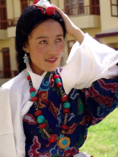 A beautiful dancer, at the Karmapa birthday celebration, at Gyuto Monastery, Sidmbari, 2004